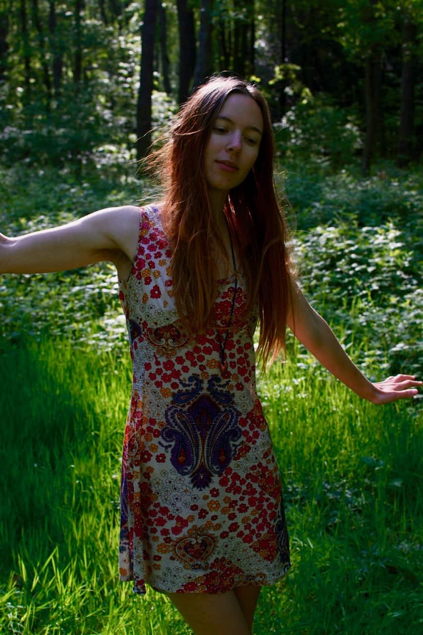 Walking in the dappled sunshine of the woods