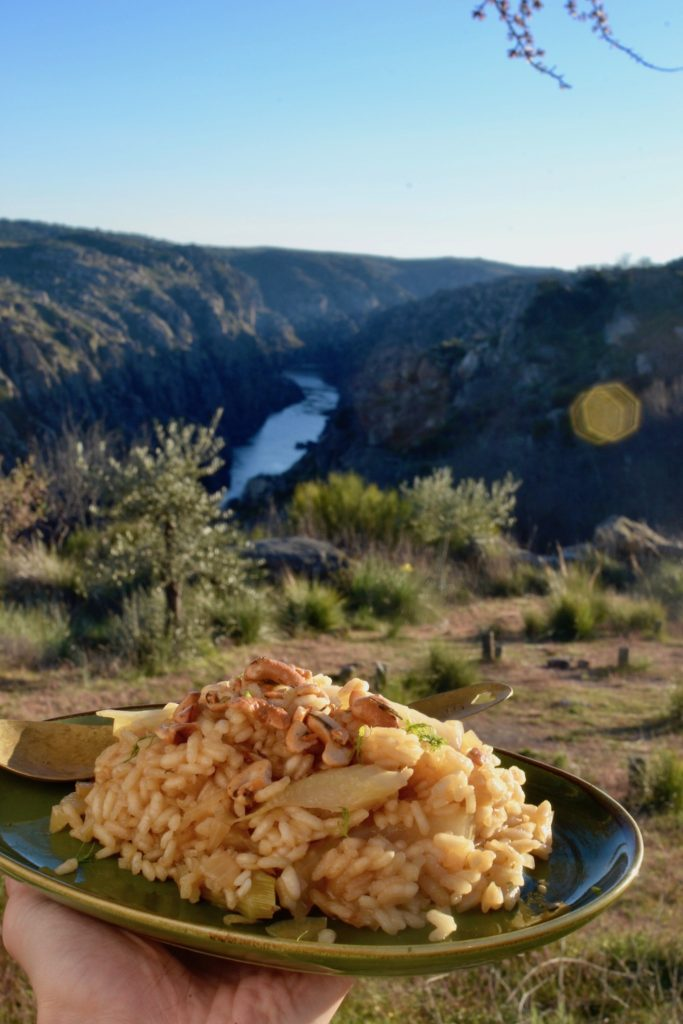 Enjoying the risotto in the beautiful Douro valley in Portugal
