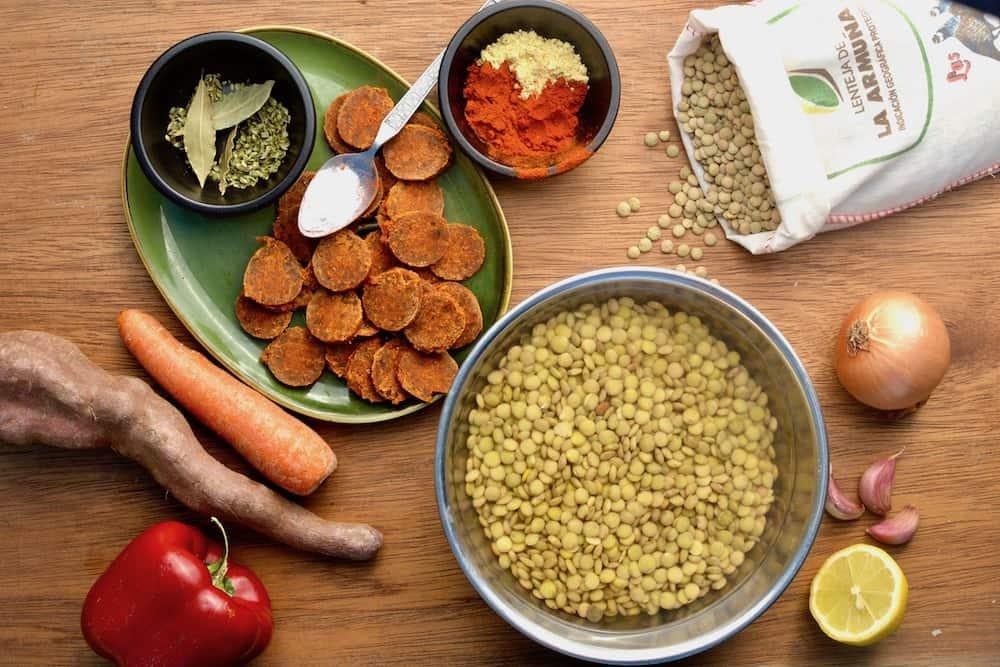 Vegan chorizo, lentils, vegetables and spices