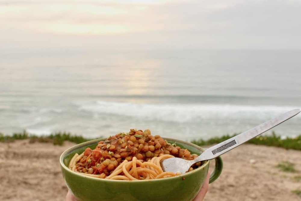 Enjoying the view of the sea with our campervan cooked meal