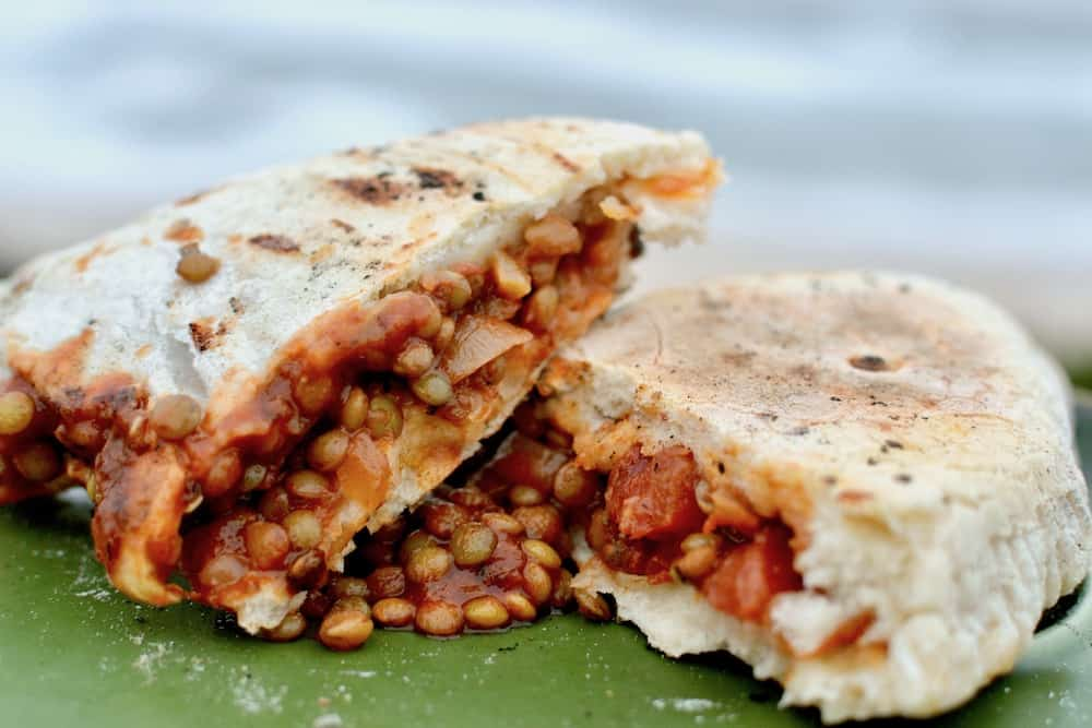 Calzones filled with green lentil ragu