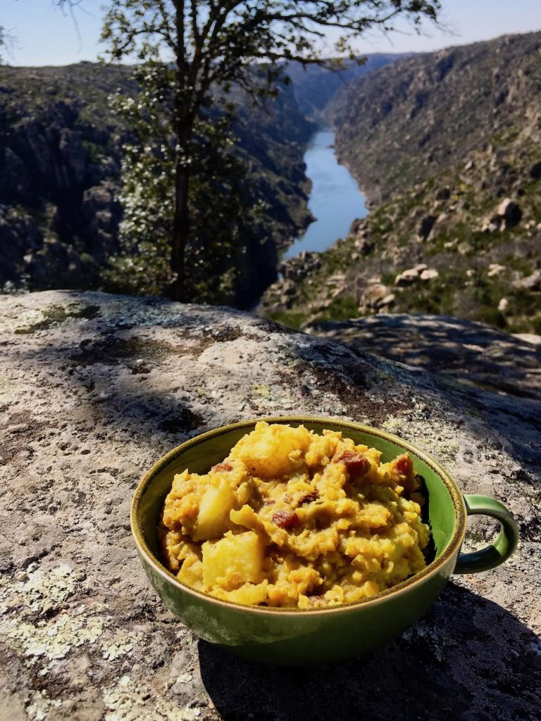 A bowl of lentil dal overlooking the Douro valley in Portugal