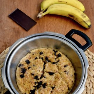 A chocolate chip banana cake in a pressure cooker