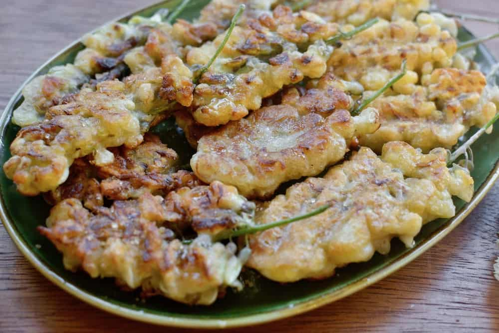 A plate of black locust flower fritters