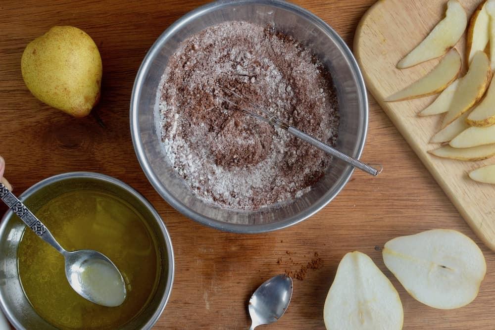 Mixing the vegan cake batter