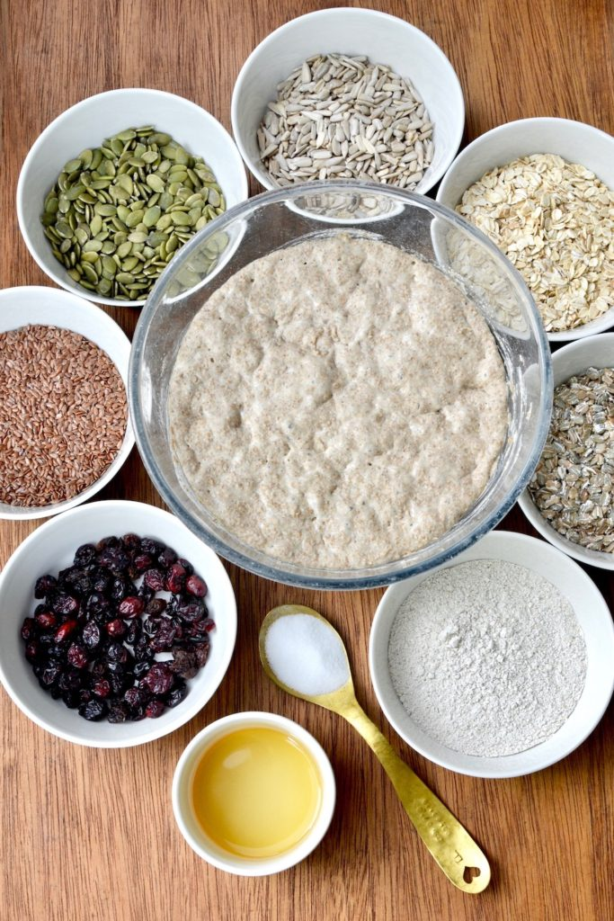 Sunflower seeds, oats, rye flakes, pumpkins seeds, linseeds, rye flour and cranberries surround a bowl of sourdough starter