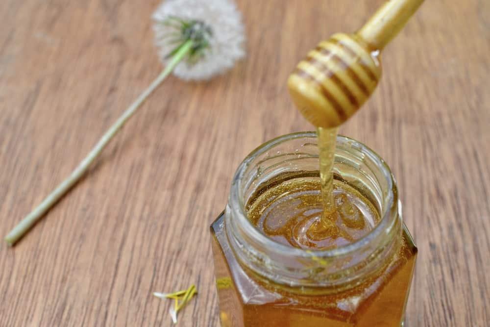 The runny texture of vegan dandelion honey