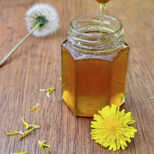 A jar of runny vegan honey made from dandelion flowers