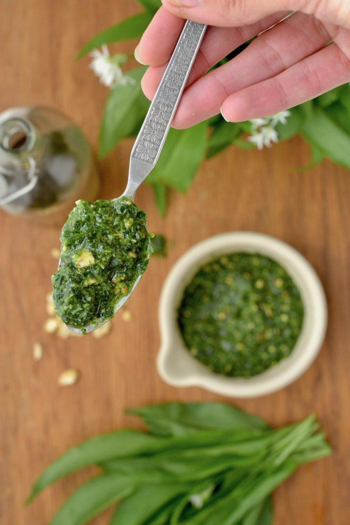 Wild garlic pesto on a spoon