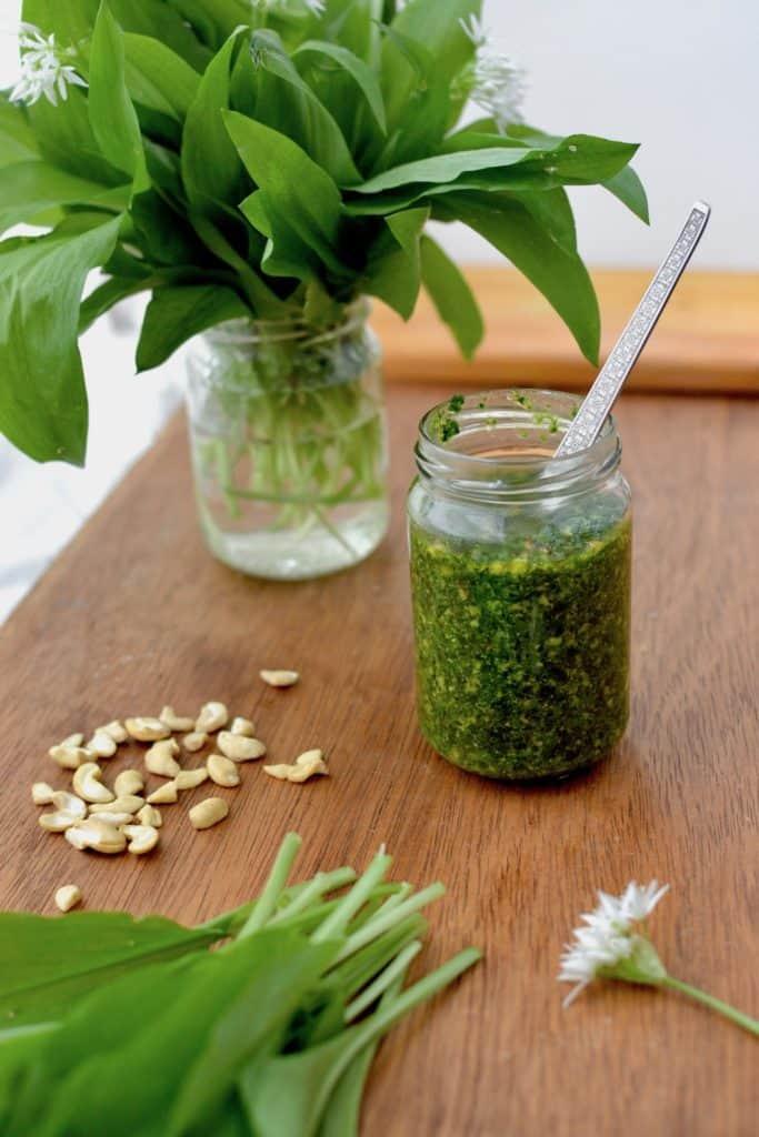 A jar of freshly made pesto