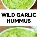 """A pinterest image with the finished dish and text """"Wild Garlic Hummus""""."""
