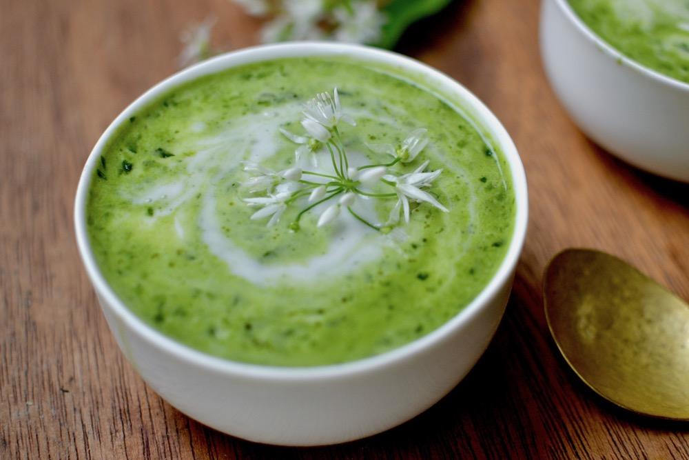A bowl of wild garlic soup