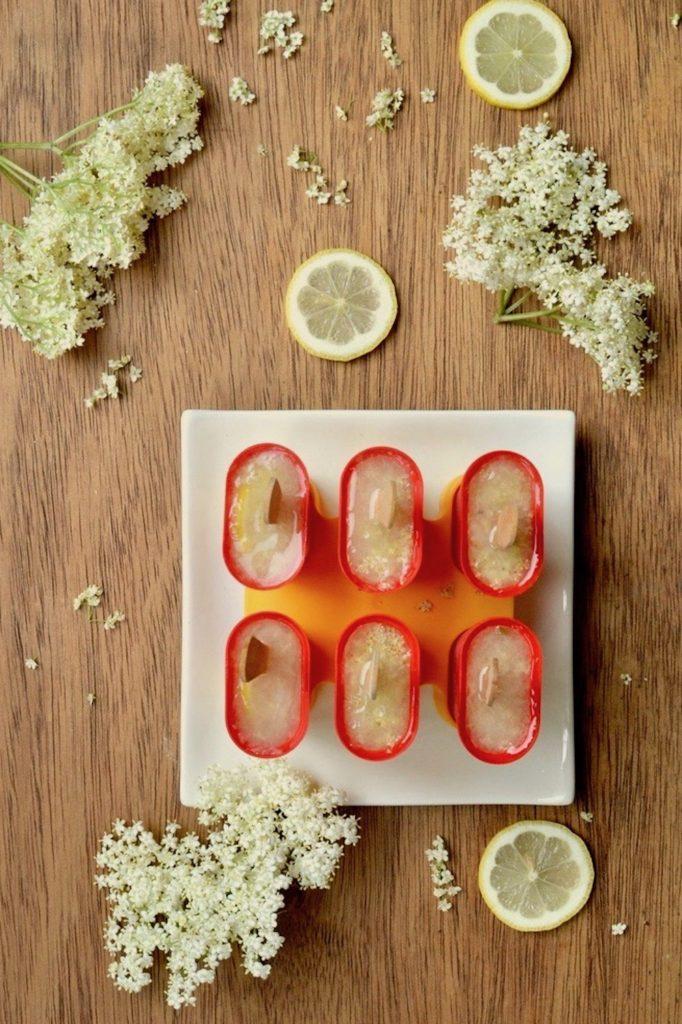 Elderflower and lemon popsicles in an ice lolly maker