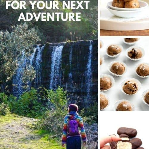 "A collage of no bake treats alongside an adventurous vegan hiker ""Vegan no bake treats for your next adventure"""
