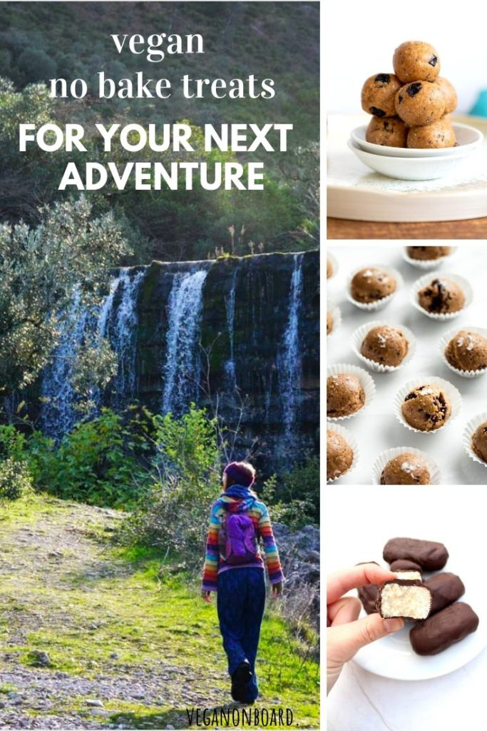 A collage of vegan no bake treats alongside Sophie on a hike to a waterfall.
