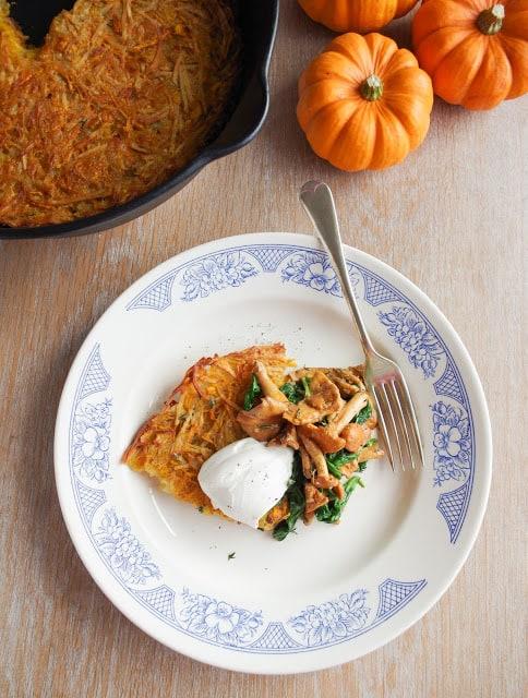 Pumpkin Rösti with Chanterelle Mushrooms & Spinach