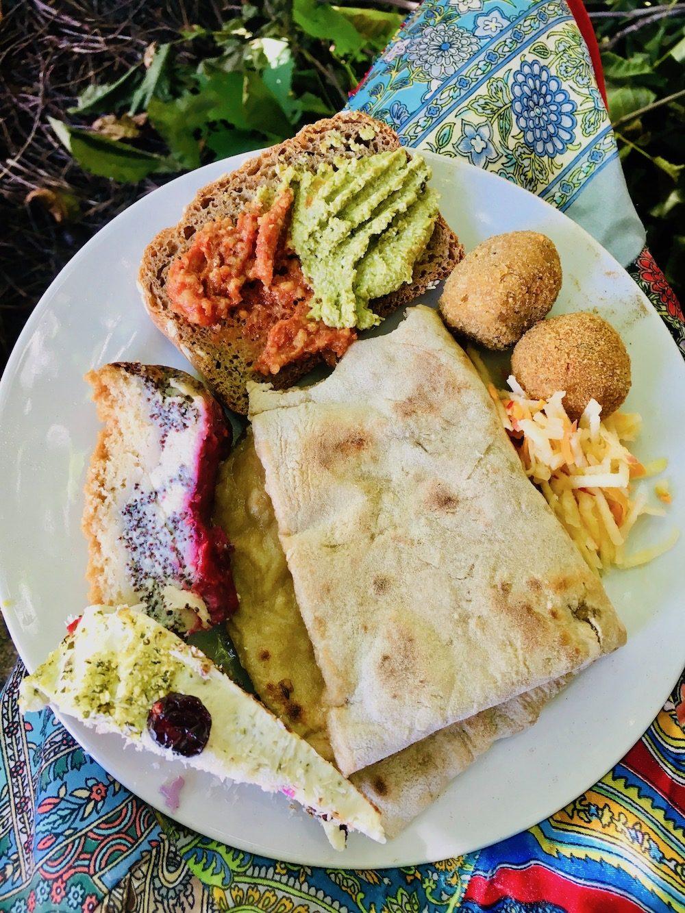 A plate of vegan buffet food