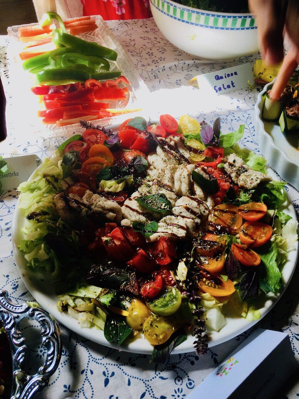 A tomato and vegan mozzarella salad