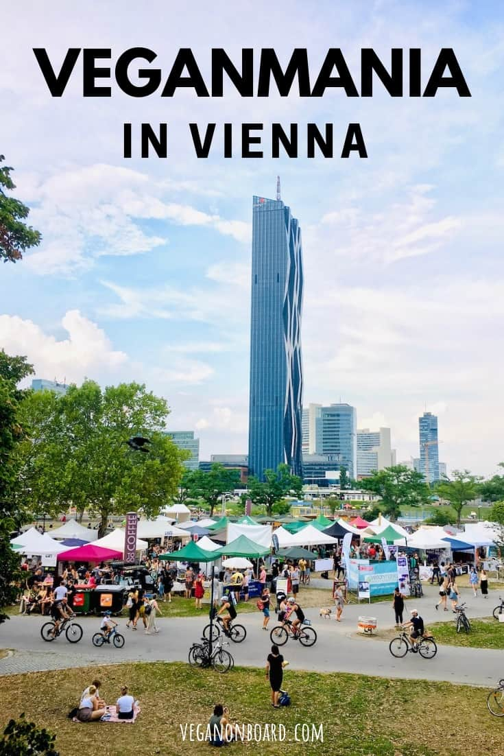 Stalls on the danube island in Vienna at the Veganmania festival.