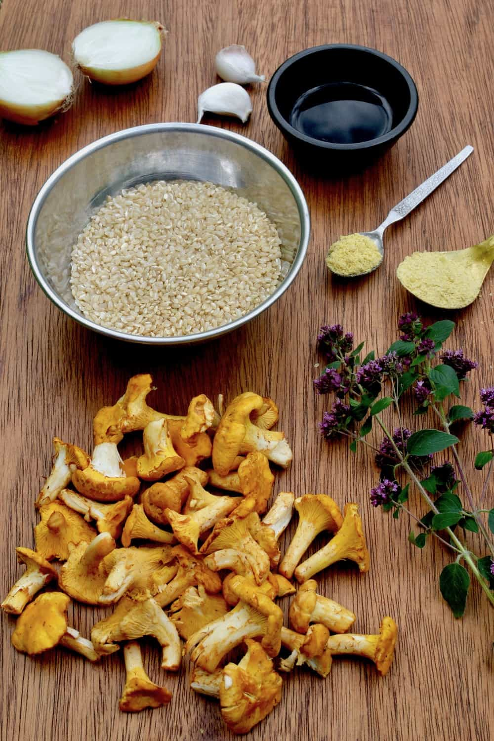 The ingredients for a vegan chanterelle risotto, ready to start cooking