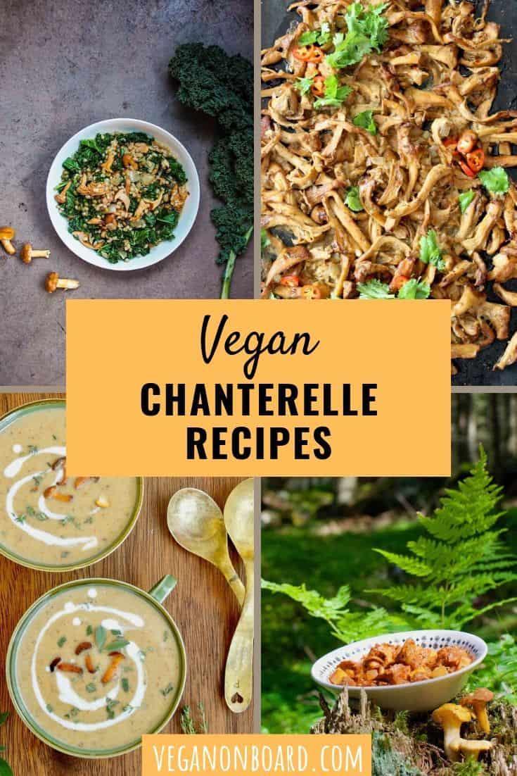 A collage of vegan chanterelle recipes - risotto, carnitas, soup and goulash.