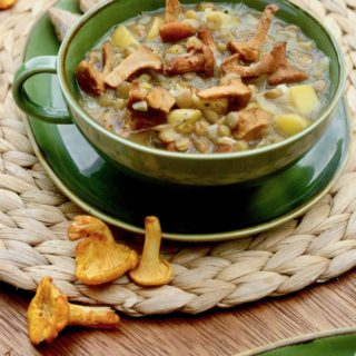 A bowl of stew containing chanterelle mushrooms, potatoes and lentils.