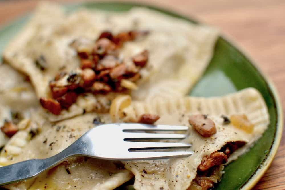 The homemade ravioli with extra mushroom topping
