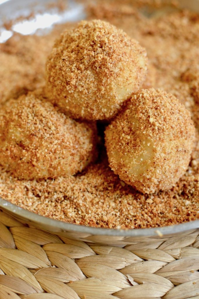 Sweet dumplings covered in golden brown breadcrumbs