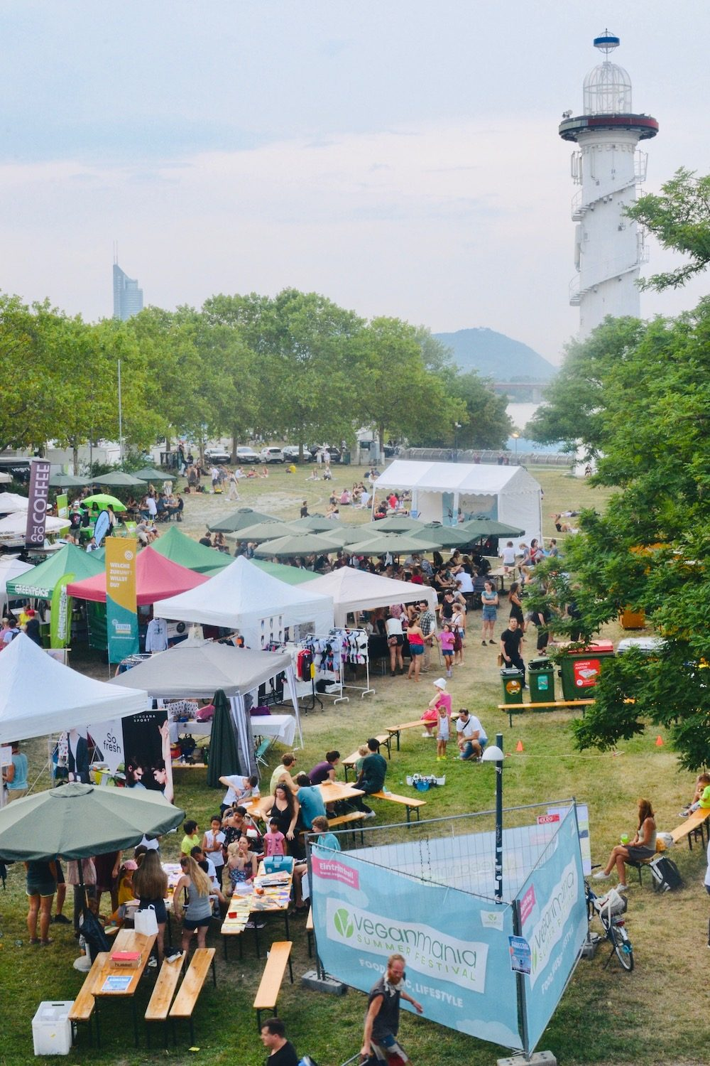 The festival seen from a bridge over the Danube