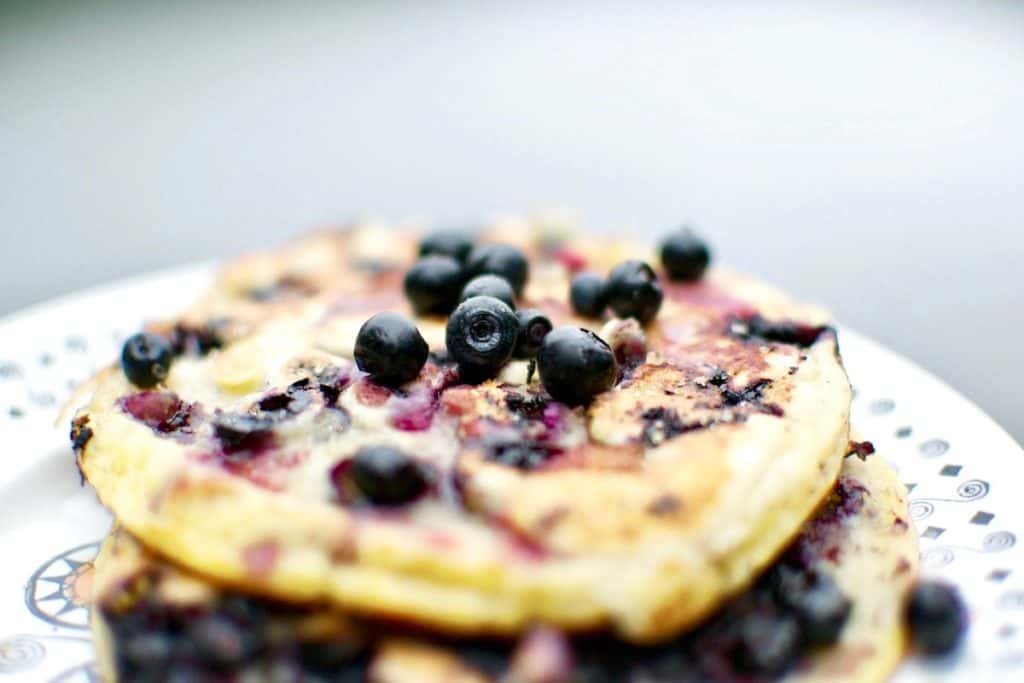 Vegan wild blueberry pancakes