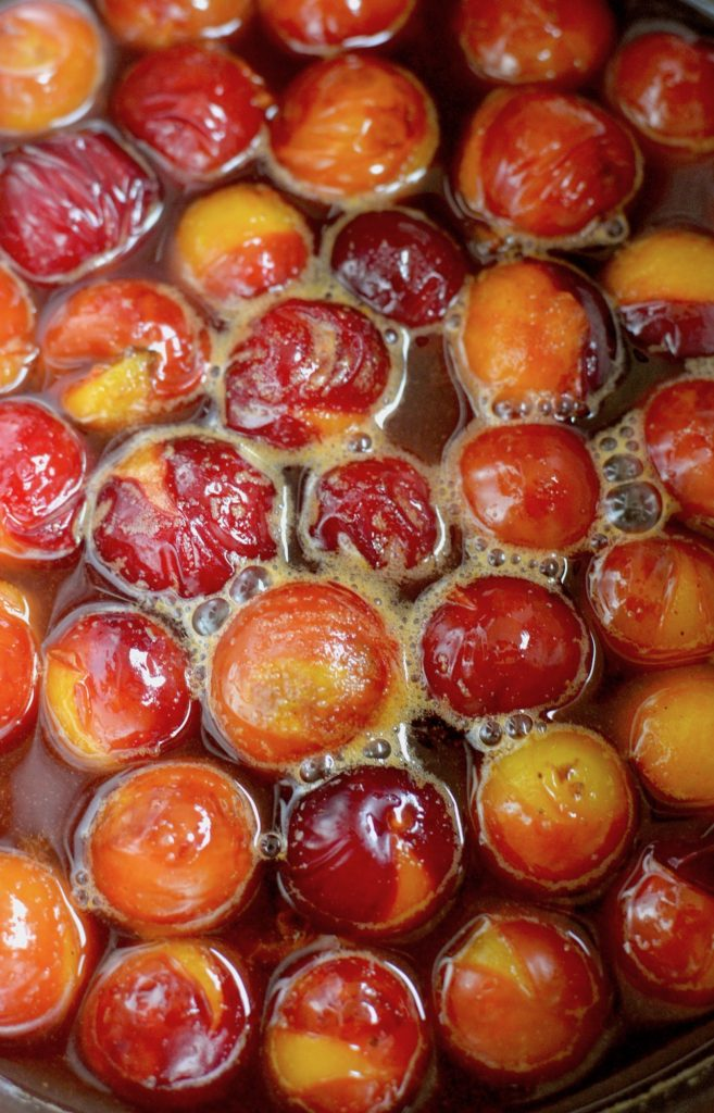 Wild plum compote cooking