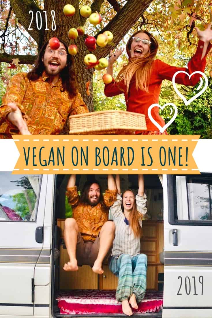 Vegan on Board is One! Two pictures of Sophie and Paul from 2018 and 2019