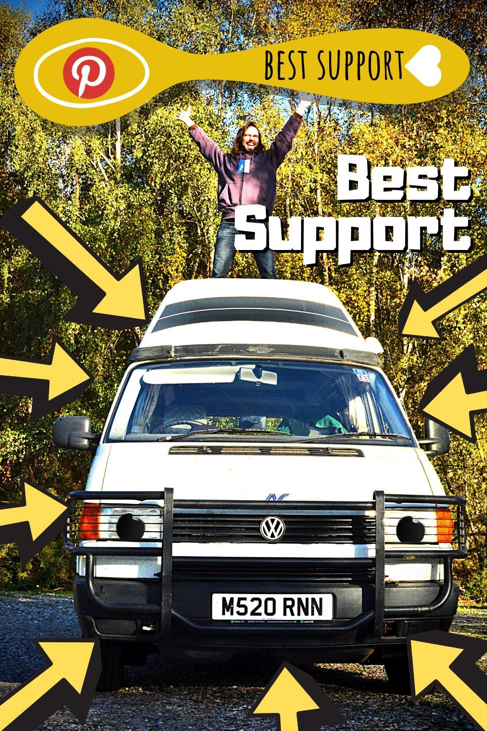 Ronnie the campervan is smiling at the camera. Paul is standing on Ronnie, his arms stretched out towards the sky. Best support!
