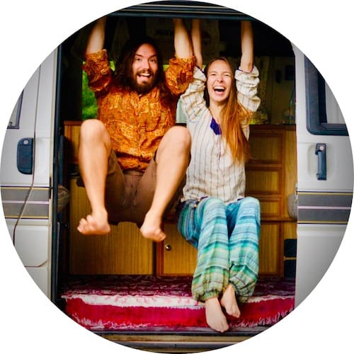 Sophie and Paul from Vegan On Board hanging out in their van
