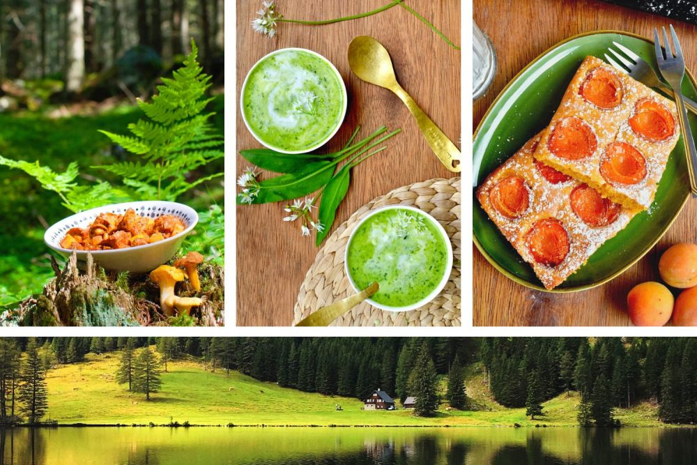 A collage of traditional Austrian dishes made vegan, above a green landscape of Austria