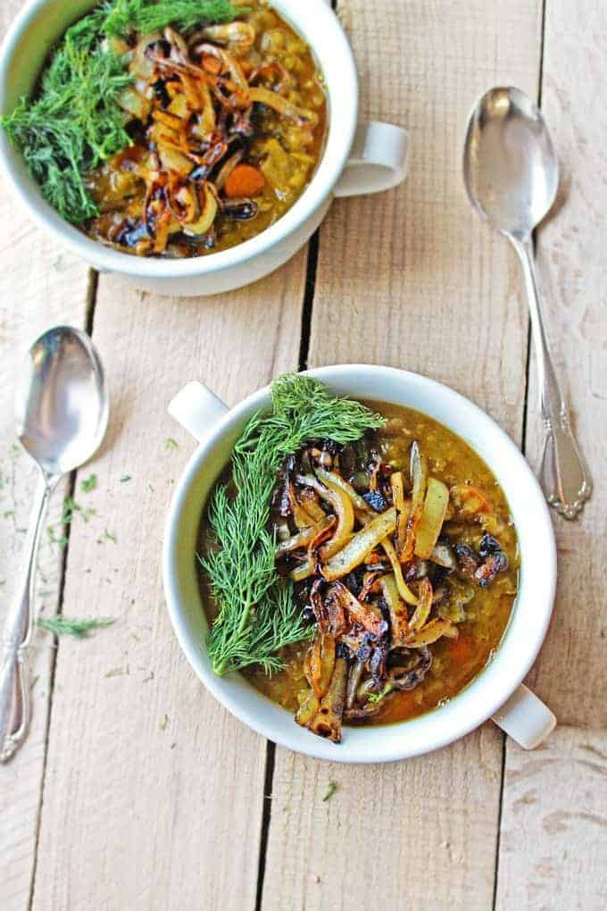 Flavor-packed Vegan Split Pea Soup with Crispy Onions