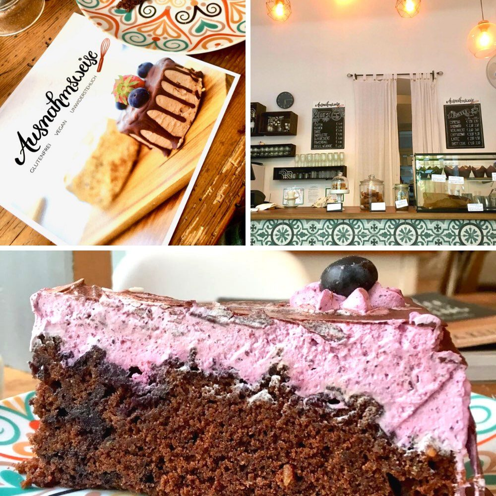 Vegan chocolate and blueberry cake and the rustic interior of the cafe
