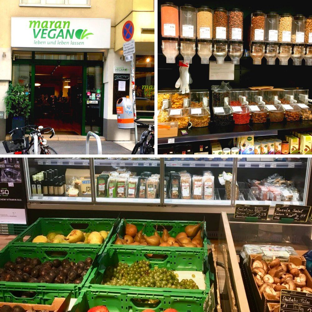 The outside of the Maran Vegan supermarket and packaging free produce