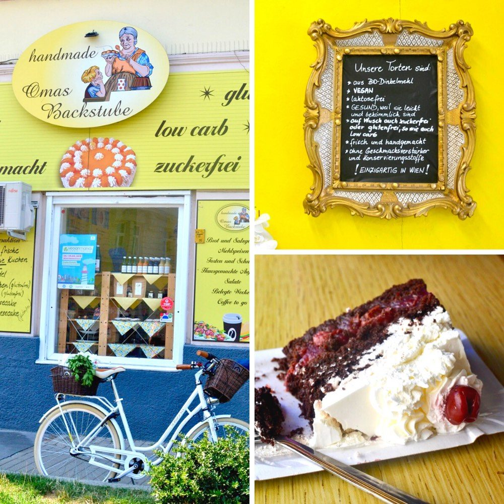 The outside of the vegan bakery and a cream topped slice of cake