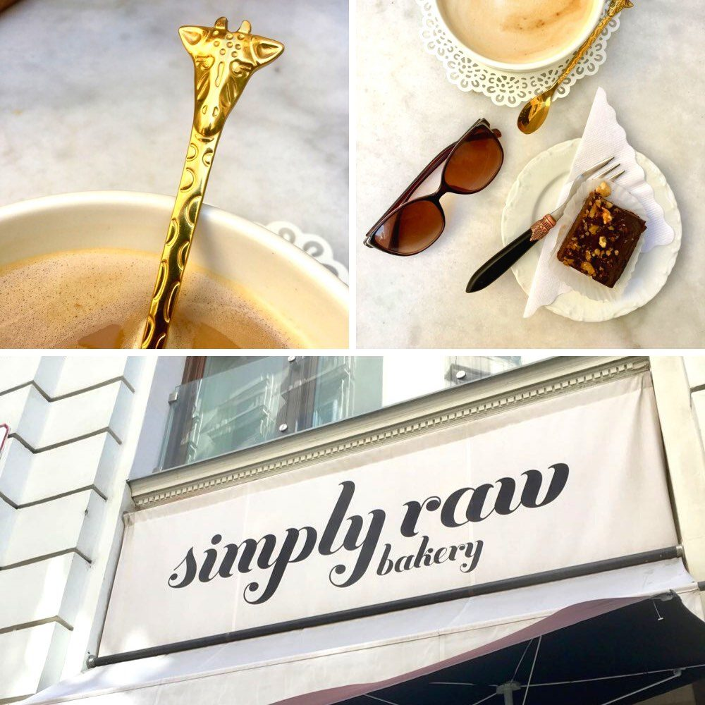 Simply raw vegan bakery sign, a giraffe spoon and a raw brownie