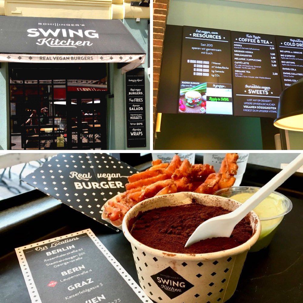 One of the branches of Swing Kitchen in Vienna and a vegan tiramisu