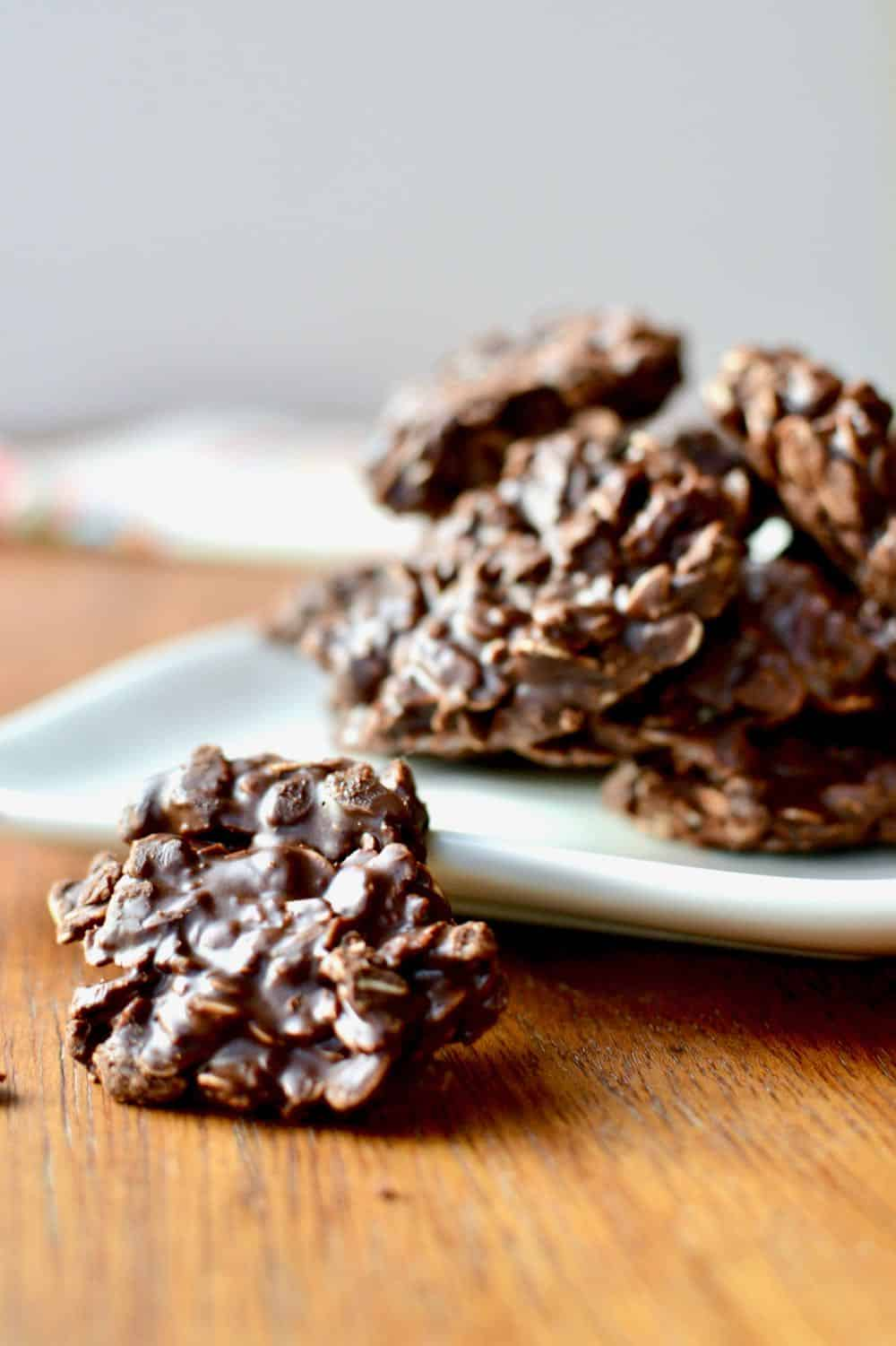 The oaty texture of the chocolate no bake cookie