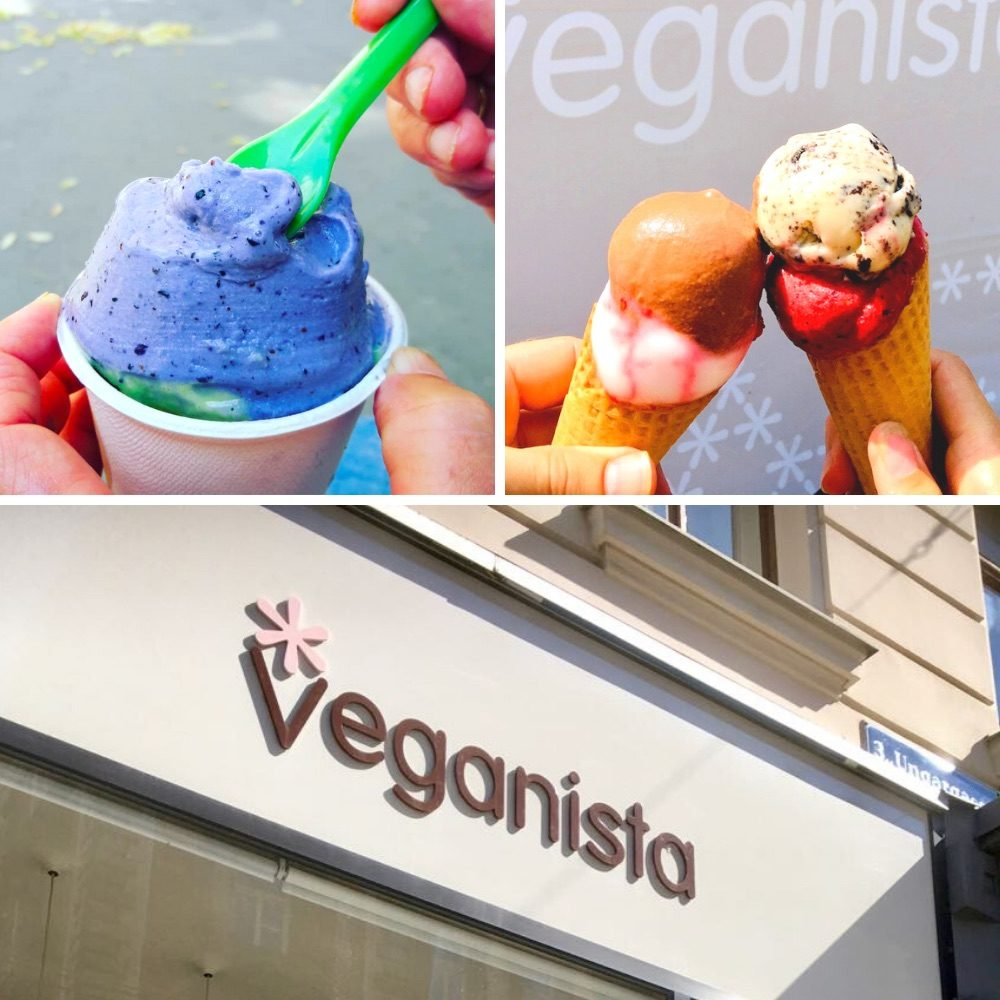One of the veganista shops and colourful cones of ice cream