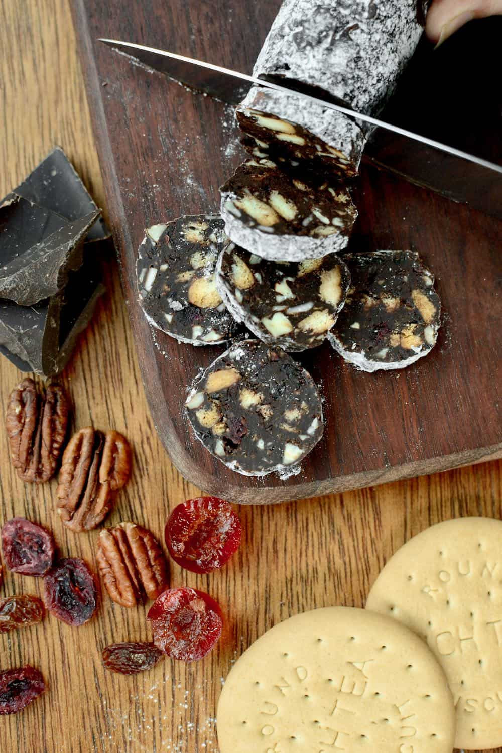 Slices of chocolate salami revealing the nutty, fruity and biscuity inside!