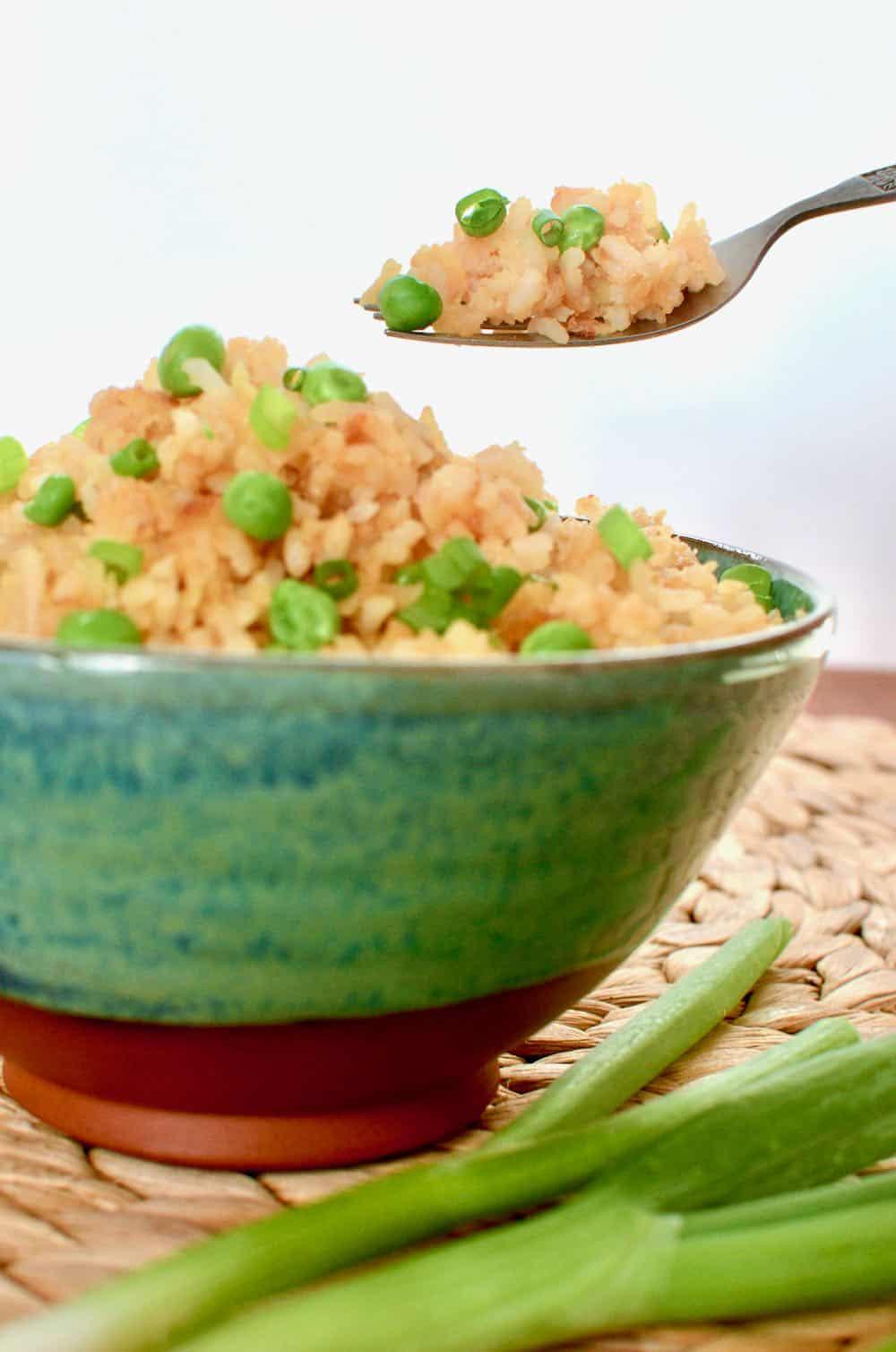 Taking a forkful of the tasty vegan egg fried rice