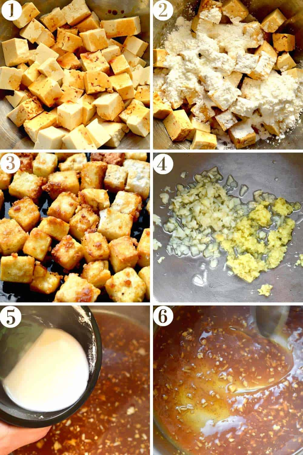 A step by step collage of marinating the tofu, coating in cornstarch, frying, then making the sauce.