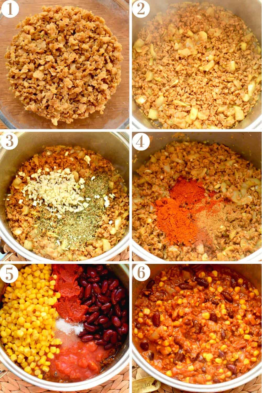 A step by step collage of the chili being made