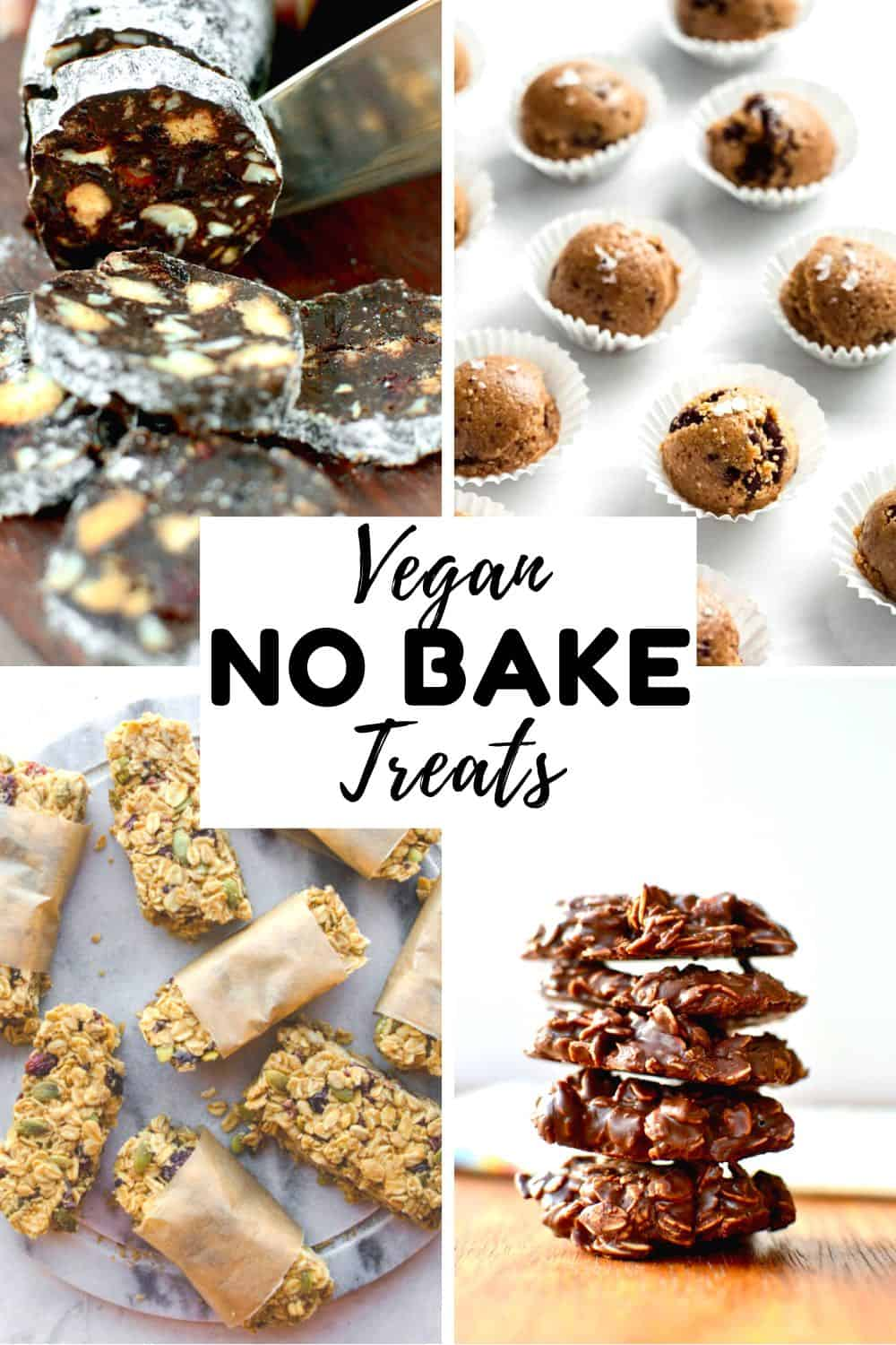 A collage of cookies, chocolate salami, granola bars and energy balls. Text reads: Vegan No Bake Treats