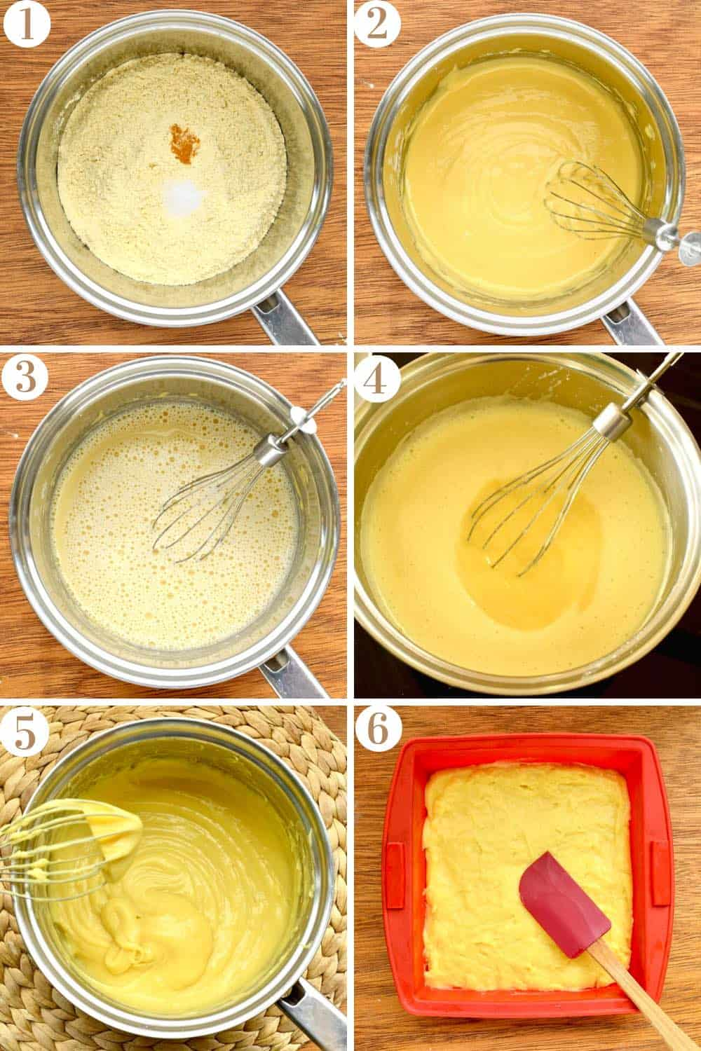A step by step collage of how to make chickpea tofu, showing the six stages of the chickpea flour mixture being mixed, thickened and setting.
