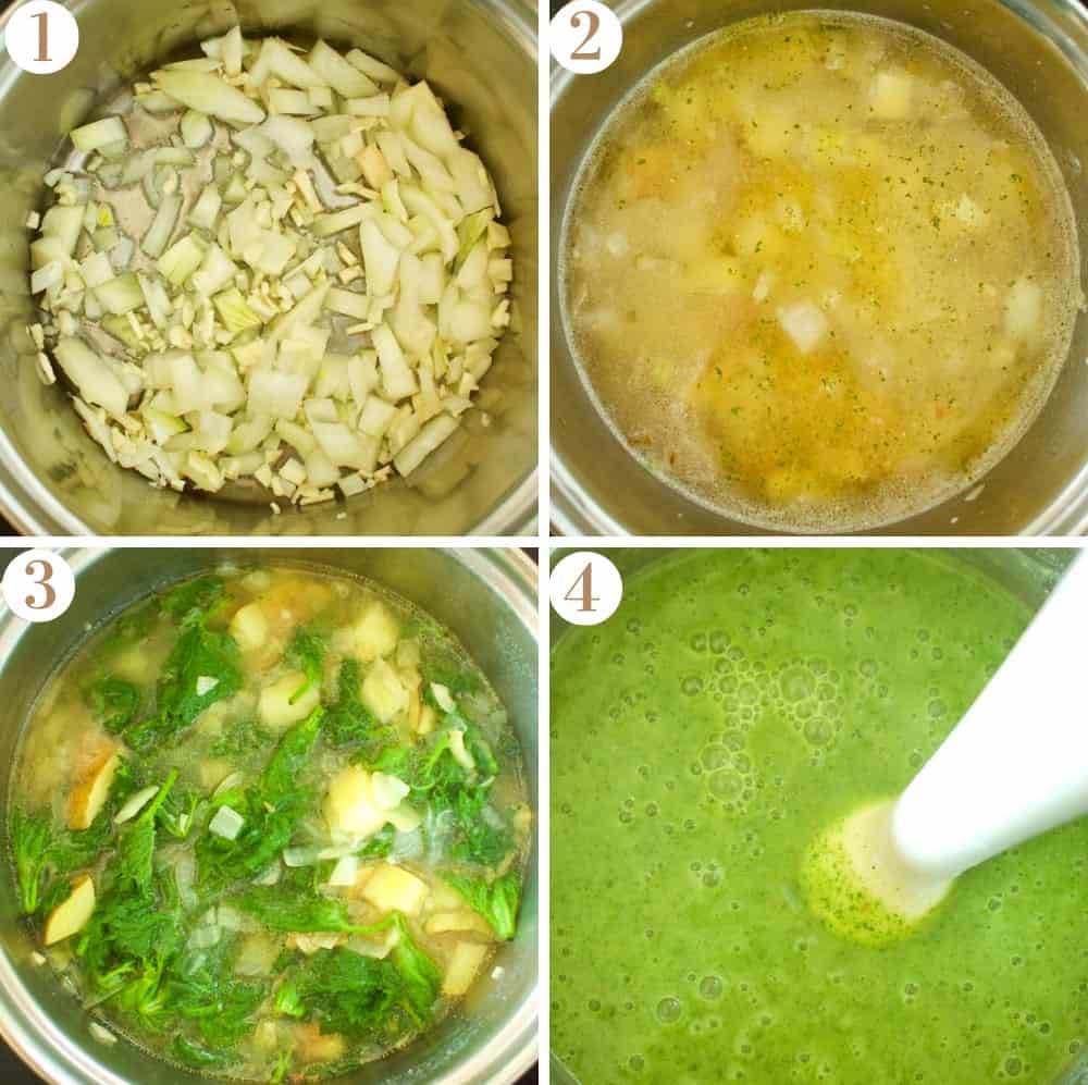 A collage of four pictures showing the pan of nettle soup from above